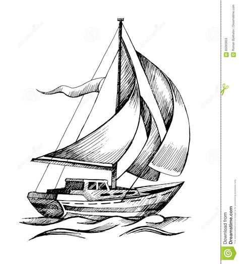 jon boat drawing sailing ship vector sketch isolated with waves stock