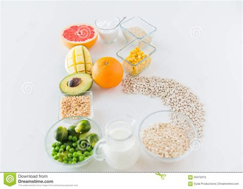 up letter with food up of food ingredients in letter b shape stock photo