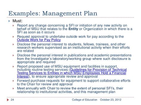 conflict of interest management plan template image