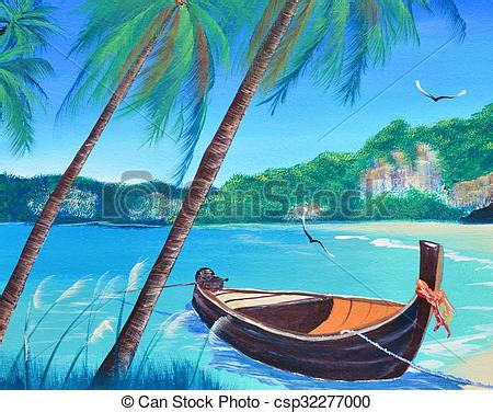 boat on beach drawing row boat on the beach oil painting on canvas stock