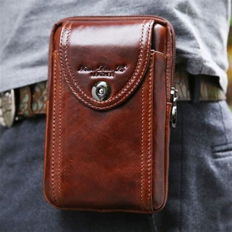 New Leather New S Genuine Leather Cowhide Vintage Belt Pouch Purse