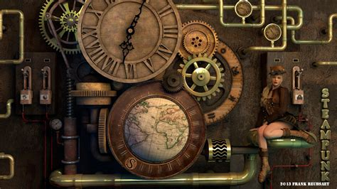 Wall Clock Art 3d steampunk clock by freuby on deviantart