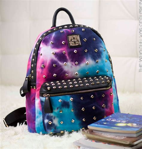 Kawaii Cardigan Outer unique rivet galaxy backpack school bags lilyby