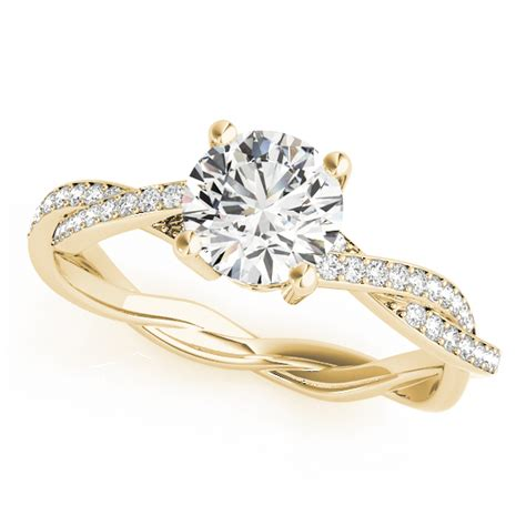twist sidestone accented engagement ring 14k