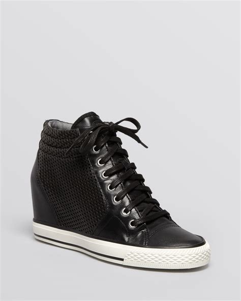 high top wedge sneakers dkny lace up high top wedge sneakers in black lyst