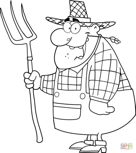 farmer coloring pages happy farmer carrying a pitchfork coloring page free