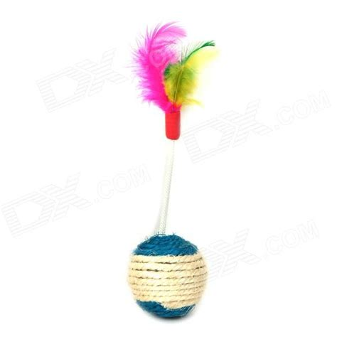 Best Seller Mainan Kucing Bola Cat Toys Bola Anyaman 2 Sisi Bulu S best sisal feather shape knit for pet cats multicolored