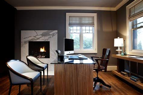 office with fireplace contemporary den library office jeff lewis design