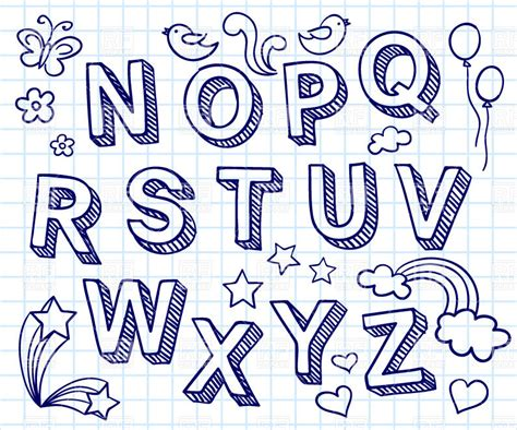 hand drawn pattern font hand drawn font shaded letters with decorations on the