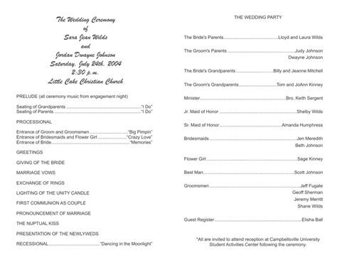 free wedding program template 8 wedding programs fast
