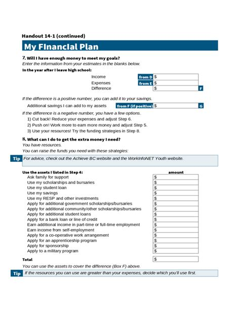 personal financial plan template personal financial plan calculator free