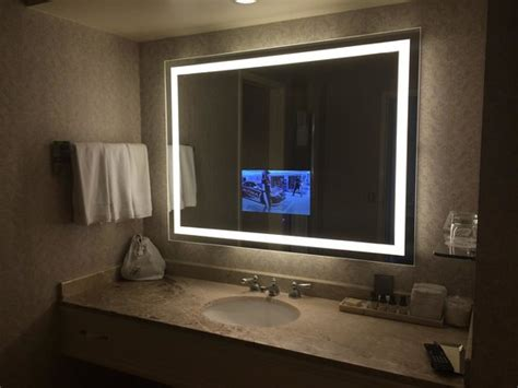 bathroom television mirror hotel main building picture of fairmont san jose san