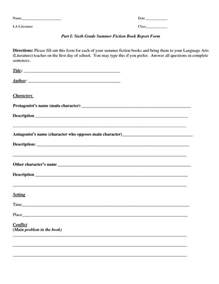 5th Grade Book Report Template by Book Report Template Part I Sixth Grade Summer Fiction