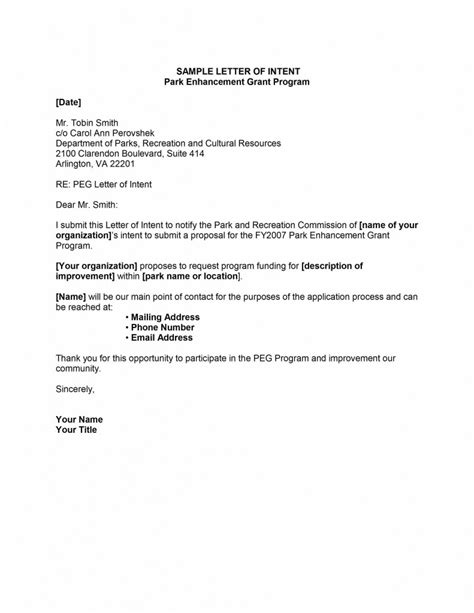 Letter Of Intent For Template Letter Of Intent Template Free Microsoft Word Templates
