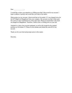 Complaint Letter For Invoice Billing Error Complaint Letter Billing Error