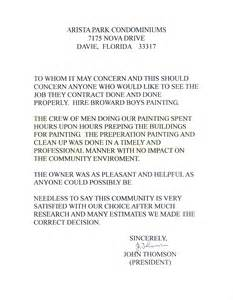 House Painter Cover Letter by Commercial Reference Letter Sle Cover Letter Templates