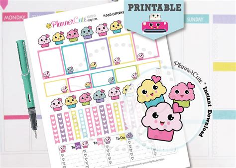 printable kawaii planner stickers kawaii cupcake stickers kawaii printable planner stickers