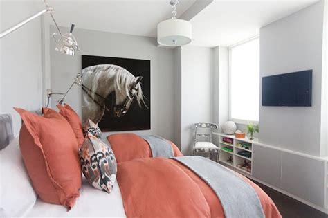coral  gray bedroom contemporary girls room