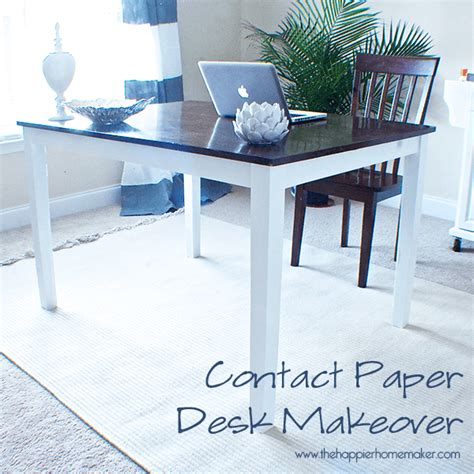 contact paper desk makeover contact paper desk makeover the happier homemaker