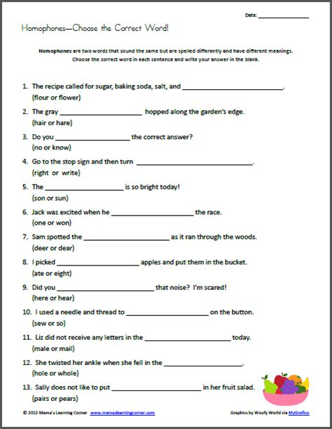 printable homophone quiz homonym worksheets for third grade they re vs there