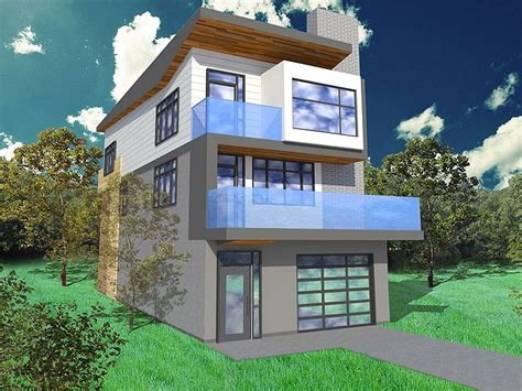 home design 3d not working narrow lot house plan 056h 0005 modern too busy but