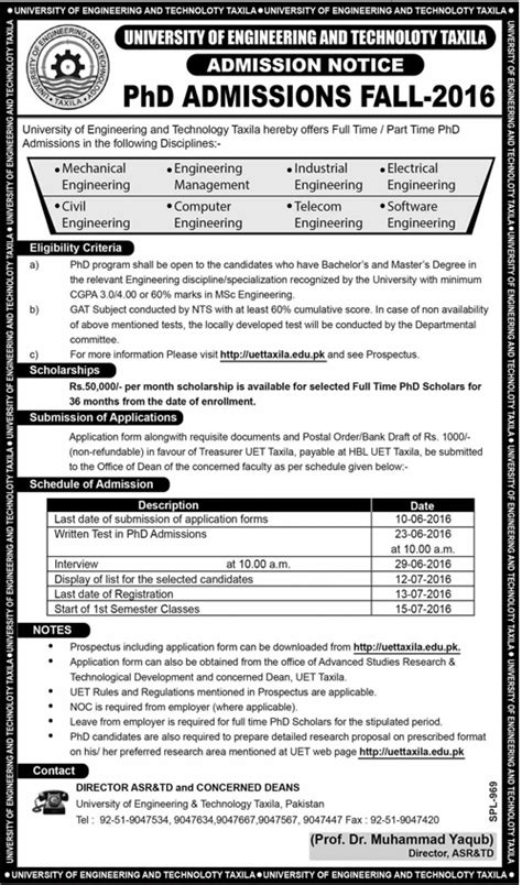 Lums Mba Admission Criteria by Uet Taxila Phd Admission Fall 2016 Form Test