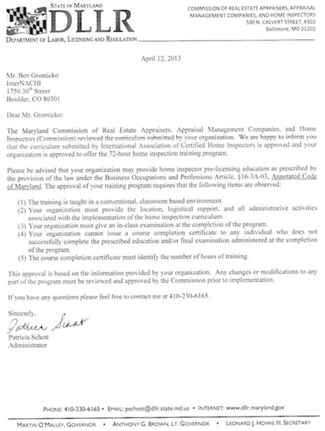 roof certification letter how to become a licensed home inspector in maryland