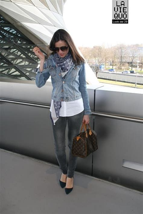Pasmina Denim C the denim jacket with the lv scarf my style tyxgb76aj quot gt this and the