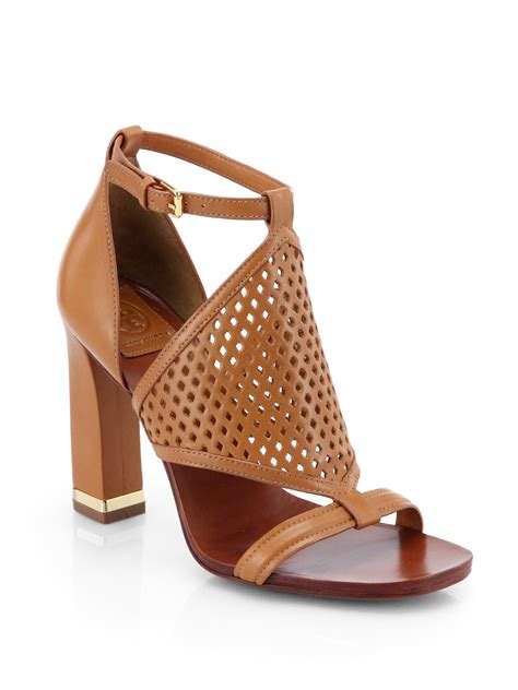 burch brown sandals burch doris perforated leather sandals in brown