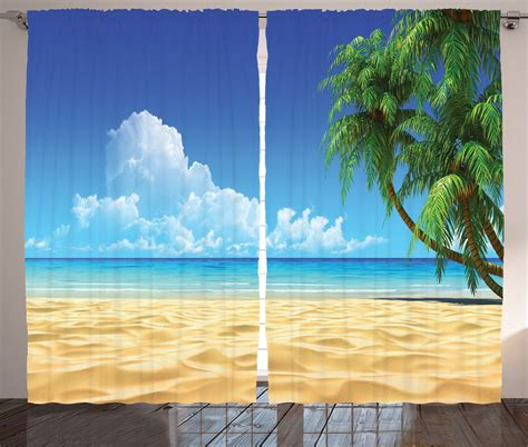 Beachy Curtains Designs Palm Tree On Golden Tropical Decor Sea Landscape Print Shower Curtain Set Ebay