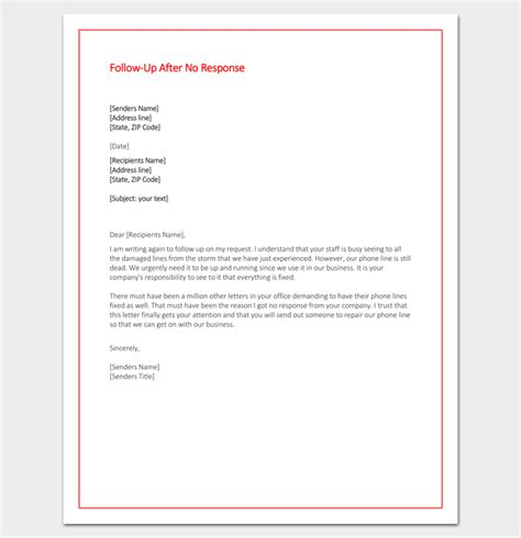 up letter response follow up letter template 10 formats sles exles