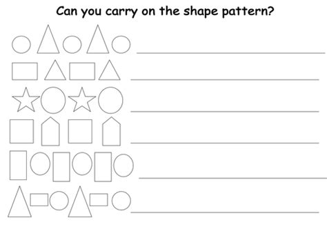 pattern continuation worksheet continue the patterns worksheet by uk teaching resources