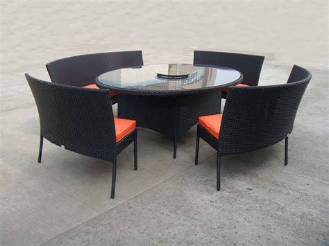Patio Bench Table Rattan Garden Dining Sets With Bench Patio Table And Chairs Set