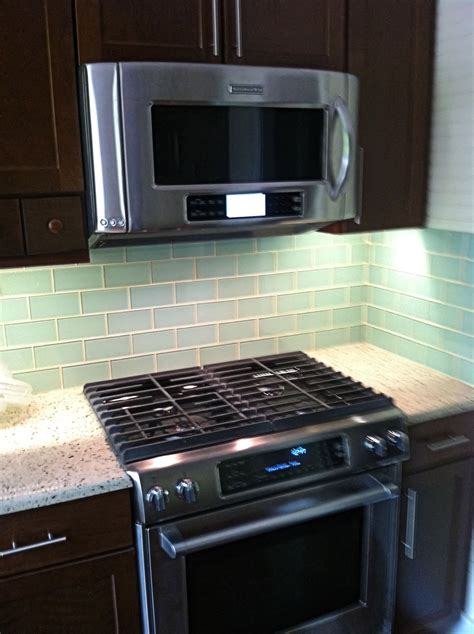 Kitchen With Glass Backsplash by Surf Glass Subway Tile 3x6 For Backsplashes Showers More