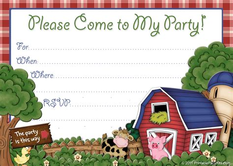 free printable barnyard farm invitation template free
