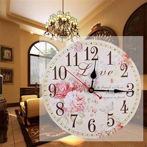 wholesale 34cm vintage silent round large wood kitchen wall clock classic large wall clocks retro wooden hanging silent