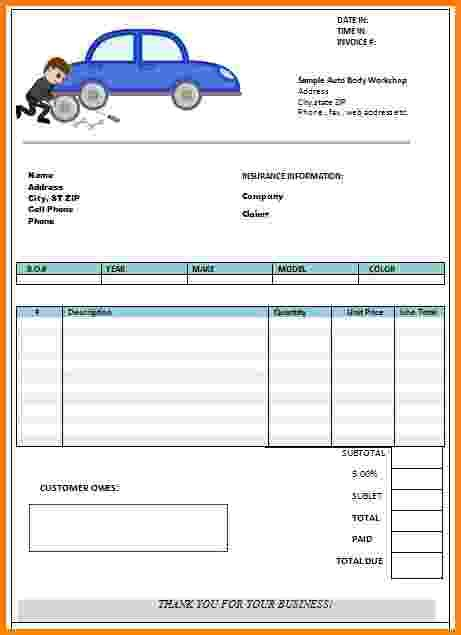 auto shop receipt template auto repair receipt template blank invoice 12 accurate