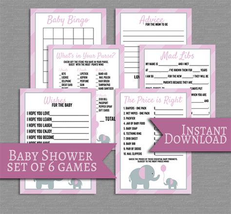Gamis Set Baby Pink pink baby shower printable set of 6 pink elephant