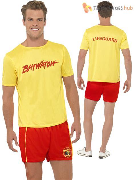 Mens Baywatch Lifeguard Sports Uniform Fancy Dress 90S Tv