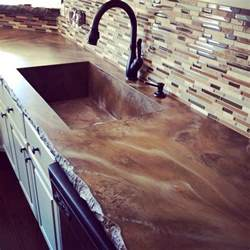 concrete countertop stained with a matte finish and