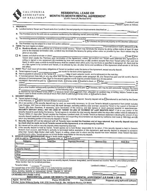 Lease Extension Deposit Residential Lease C A R Form