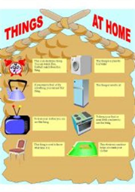 home things esl worksheets for beginners things at home