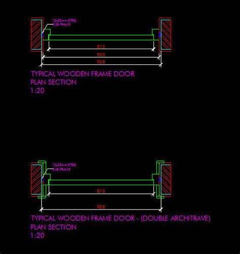 cad details doors wooden door frame plan details 1