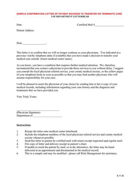 Patient Responsibility Letter Template Sle Confirmation Letter Of Patient Decision To Transfer Terminate Care In Word And Pdf Formats