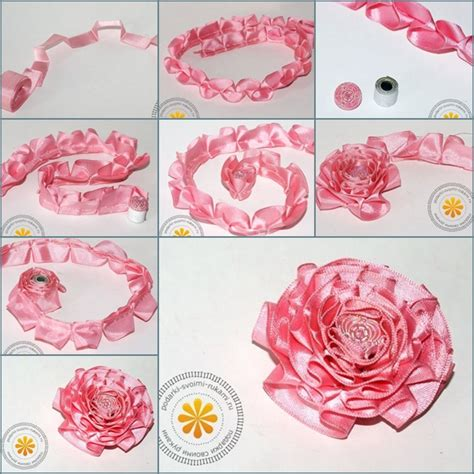How To Make A Paper Ribbon Flower - diy make satin ribbon carnation flower step by step