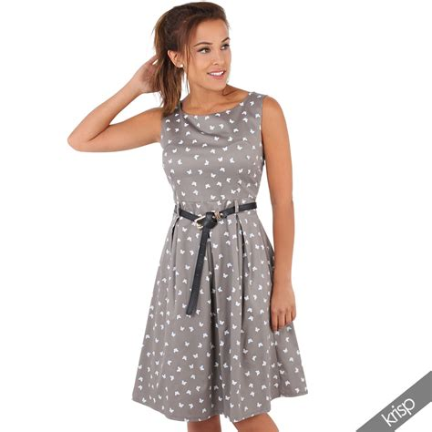 womens vintage pin up flared butterfly midi tea dress
