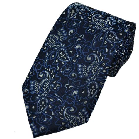 blue patterned ties navy blue silver paisley patterned tie from ties planet uk