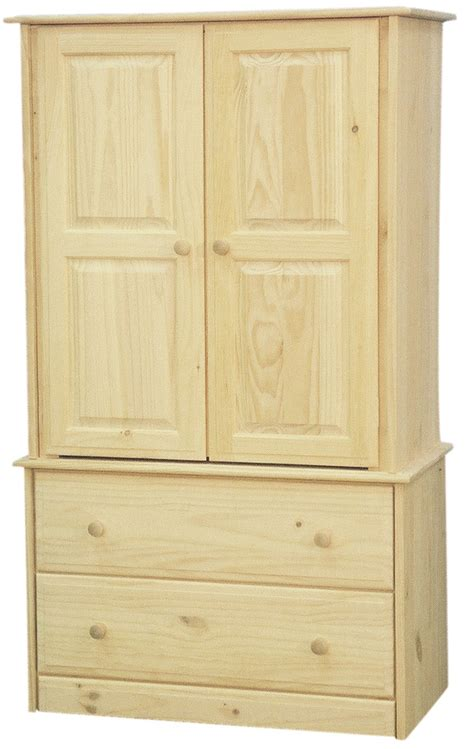 unfinished armoire solid pine armoire with 2 drawers bedroom