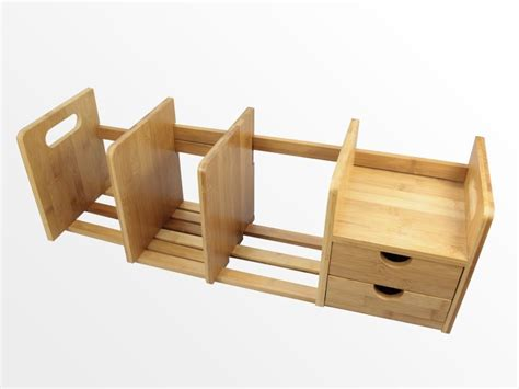 expandable bookshelf with drawers bamboo desktop