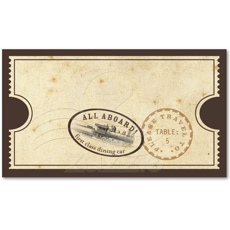 Ticket Place Card Template by Vintage Ticket Card Business Card Templates